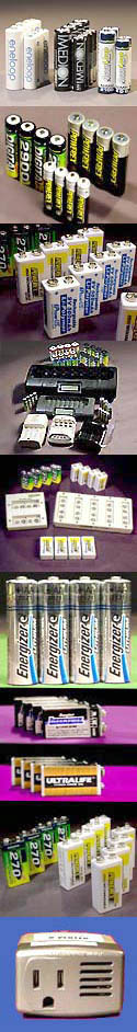 Rechargeable AA batteries, rechargeable 9V batteries, rechargeable AAA batteries, C-size batteries, D-size batteries
